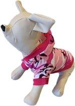Camouflage shirt roze met muts voor de hond. - S ( rug lengte 23 cm, borst omvang 34 cm, nek omvang 26 cm )