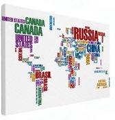 Wereldkaart op canvas schilderij tekst groot 120x80 cm | Wereldkaart Canvas Schilderij