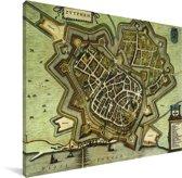Historische stadskaart van Zutphen Canvas - Plattegrond 40x30 cm - klein - Foto print op Canvas schilderij (Wanddecoratie woonkamer / slaapkamer)