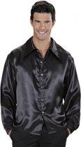 Zwarte satijnen blouse M