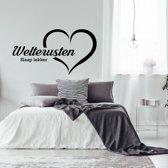 Muursticker Welterusten Slaap Lekker In Hart -  Geel -  120 x 64 cm  - Muursticker4Sale
