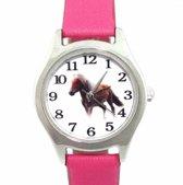 Paard -horloge- Midden Roze- 26 mm- leer