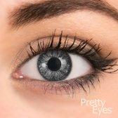 Pretty Eyes kleurlenzen - Parel grijs - 2 stuks - Maandlenzen