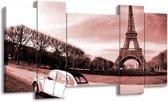 Schilderij | Canvas Schilderij Steden, Parijs | Bruin, Rood | 120x65cm 5Luik | Foto print op Canvas