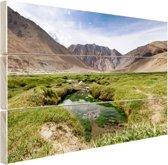 Landschap op weg naar de Himalaya Hout 160x120 cm - Foto print op Hout (Wanddecoratie) XXL / Groot formaat!