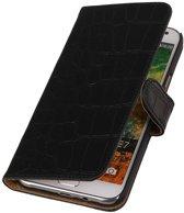 Wicked Narwal | Croco bookstyle / book case/ wallet case Hoes voor Samsung Galaxy E7 Zwart