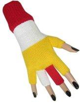 Vingerloze handschoen rood - wit - geel