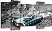 Schilderij | Canvas Schilderij Oldtimer, Auto | Grijs, Groen, Blauw | 120x65cm 5Luik | Foto print op Canvas