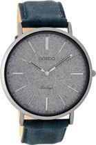 OOZOO Vintage Zilver Horloge  (44 mm) - Blauw
