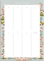 DesignClaud Weekplanner A4 voor al je notities - Vrolijke bloemen met vrolijke kleurtjes - Grijs-blauw