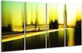 Glasschilderij Londen | Geel, Groen, Zwart | 160x80cm 4Luik | Foto print op Glas |  F004248