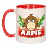 1x Aapie beker / mok - rood met wit - 300 ml keramiek - apen bekers