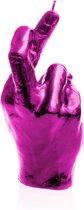 Hoogglans roze gelakte Candellana figuurkaars, design: Hand CRS Hoogte 19 cm (30 uur)