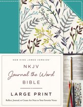 NKJV, Journal the Word Bible, Large Print, Cloth over Board, Blue Floral, Red Letter Edition