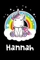 Hannah: Personalized Name Notebook Blank Journal For Girls Or Women With Unicorn