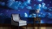Fotobehang Papier Nacht | Blauw | 254x184cm