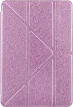 Let op type!! iPad Pro 12.9 inch horizontaal Zijde structuur PU leren Flip Hoesje met houder en doorschijnend back cover (roze)