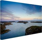 Noordzee zonsondergang Canvas 60x40 cm - Foto print op Canvas schilderij (Wanddecoratie)