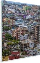 Kleurrijke huizen in Dhaka Plexiglas 120x180 cm - Foto print op Glas (Plexiglas wanddecoratie) XXL / Groot formaat!