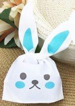 Bunny traktatie zakjes 20 stuks (blauw)