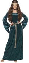 Groen en goudkleurig middeleeuws kostuum voor vrouwen - Volwassenen kostuums