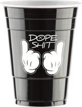 50 Black Cups Dope Design - 500ml Zwarte Party Bekers dubbelzijdig bedrukt - Original Beer Pong
