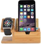 Houten Apple watch / iPhone houder - Bamboe (incl. USB poorten)