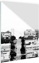 San Francisco zwart-wit Glas 80x120 cm - Foto print op Glas (Plexiglas wanddecoratie)