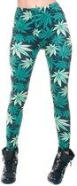 Dames party leggings marihuana print - Verkleedlegging wietbladeren print