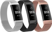 Adge® Milanese bandjes - Fitbit Charge 3 - 3-pack - Small
