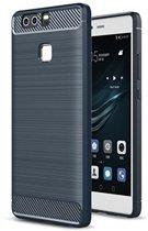Geborstelde TPU Cover - Huawei P9 - Blauw