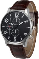 Fako® - Horloge - Geneva - Cresta - Ø 42mm - Bruin