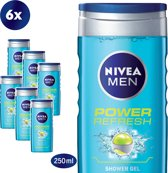 NIVEA MEN Power Refresh - 250 ml - Douchegel - 6 st - Voordeelverpakking