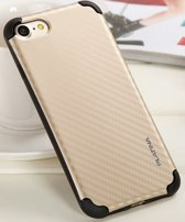 Platina Hard Back Cover Case voor Apple iPhone 6 Plus of iPhone 6S Plus - Carbon Print - Goud