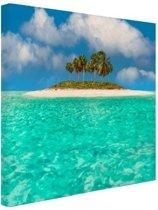 Caribisch eiland  Canvas 180x120 cm - Foto print op Canvas schilderij (Wanddecoratie woonkamer / slaapkamer) XXL / Groot formaat! / Zee en Strand