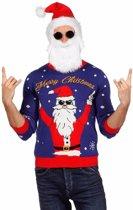 Blauwe kersttrui rockende kerstman voor dames / heren - Unisex - foute kersttruien 52 (L)