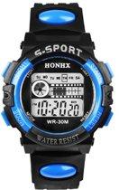 HONHX S Sport - Horloge - Kunststof - 44 mm - Zwart/Blauw