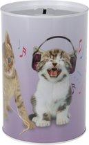 Katten/poezen met koptelefoon spaarpot 15 cm - Kittens met koptelefoon spaarpot 15 cm