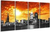 Glasschilderij Gebouw | Oranje, Geel, Grijs | 160x80cm 4Luik | Foto print op Glas |  F002951