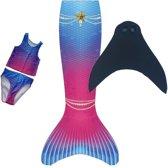 Luxe zeemeerminstaart pinkblue star 7-9 jaar met bikini en monovin