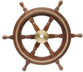 Stuurwiel Hout - Decoratief - Stuurwiel Boot - Met touw - Diameter 45 cm
