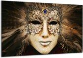 Glasschilderij Masker | Bruin, Wit, Zwart | 120x70cm 1Luik | Foto print op Glas |  F004929