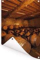 Vaten in een wijnkelder Tuinposter 120x180 cm - Tuindoek / Buitencanvas / Schilderijen voor buiten (tuin decoratie) XXL / Groot formaat!