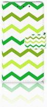 HTC One M7 Uniek Boekhoesje Zigzag Groen