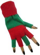 Handschoen vingerloos groen/rood
