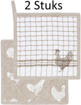 Clayre & Eef - Katoenen Pannenlap - Landelijk met Kippen & Hanen motief - 2 stuks - 20 x 20 cm