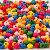 Houten kralen mix d: 4 mm gatgrootte 1-1 5 mm diverse kleuren 15gr circa 75 div