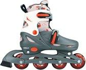 Nijdam Junior Inline Quads Junior Verstelbaar - Hardboot - Grijs/Rood/Wit - 34-37