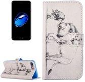 iPhone 7 (4.7 Inch) - Flip hoes, cover, case - PU leder - TPU - Leeuw en meisje
