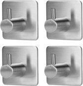 LifeGoods RVS Wandhaak (4-stuks) – Zelfklevende Handdoek Haakjes - Multi Wandhaakje - Muur Haak – Deurhaak - Vierkant